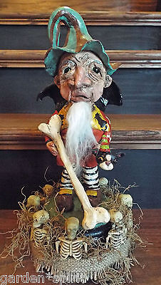 Folk Art Halloween Bone Collector Skeleton Fairy Garden Collector Outsider Art - Halloween Bone Collector