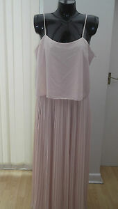 BNWT, stunning pale peach pleated maxi  dress, NEXT, size 16,