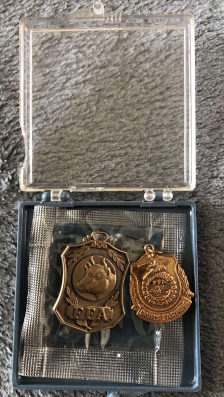 (2) FFA Awards Medals For Dairy Farming Presented By Future Farmers Of America