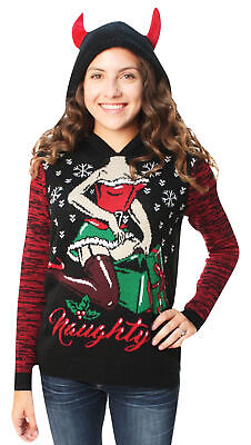 Ugly Christmas Sweater Women's Naughty Present Hooded Sweater - Naughty Christmas Sweaters