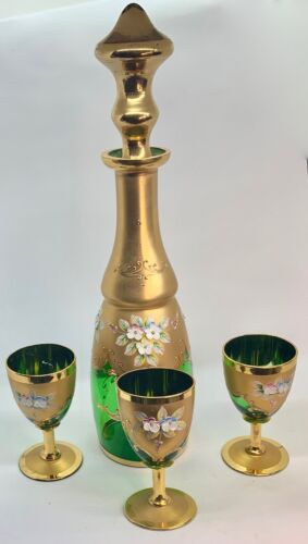 Bohemian Emerald Green Heavy Gold and Enamel flowers Decanter and  3 Glasses