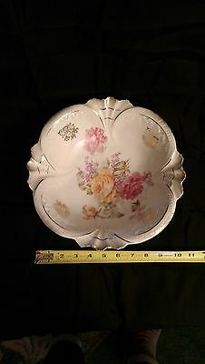 Vintage German/Bavarian handpainted/stamped Porcelain BOWL 10 1/2