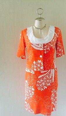 VTG 60's Miss Elliette Orange & White Wiggle Dress 3 Pcs Teatime Set Sz S/M