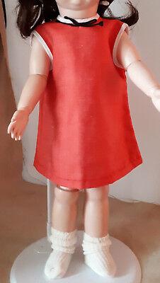 rotes Kleid für Puppe Mädchen 70er Jahre ()