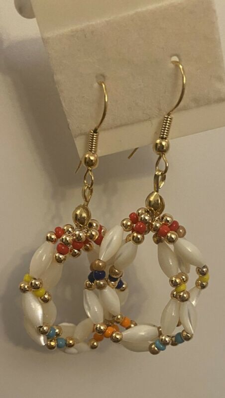 Vintage Retro MCM Genuine Mother Of Pearl & Color Bead GoldTone Dangle Earrings
