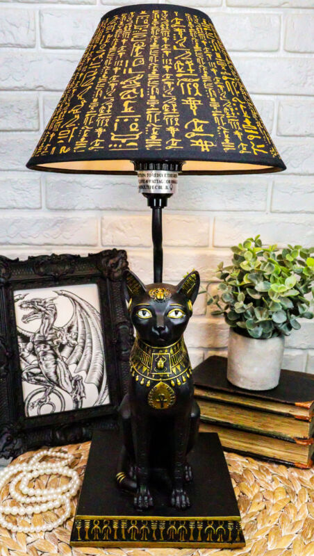 Ebros Egyptian Goddess Of Home Bastet Cat Table Lamp Sculpture With Shade