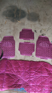 PINK sun visor and floor mat set