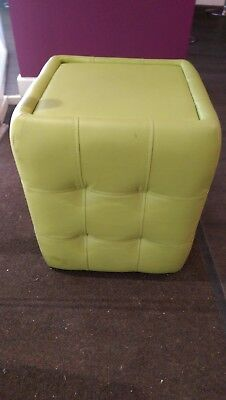 Designer, Contemporary Footstool, Beadle & Chrome, Lime Green Leather