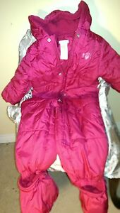 BRIGHT PINK ONESIE SNOWSUIT WITH REMOVABLE FOOTSIES