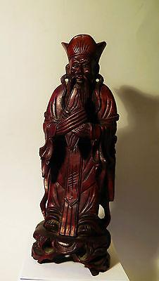 5969:Japanisch, Qualitätvolle Holzfigur, Priester, Mönch, Gelehrter,Konfuzius?.
