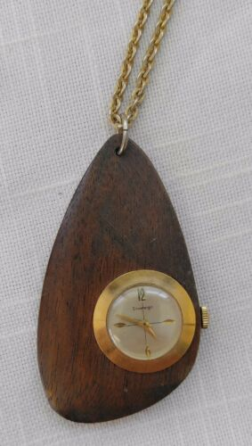 Vintage 60s Teak Wood Watch on Chain Sovereign