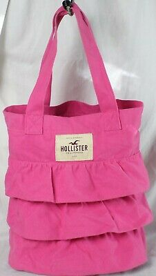 California Tote Bag (Hollister Cal Pink Ruffled Canvas Tote Bag California 1922 Shopping Tote)