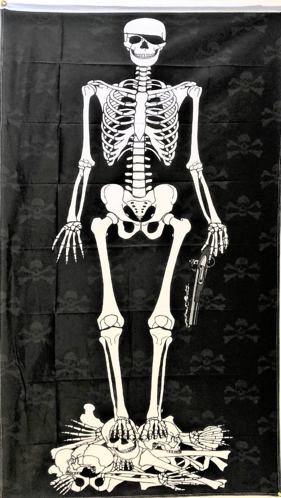 3x5 Pirate Skeleton FLAG 5' x 3' Skull Skeleton Bones Pirate
