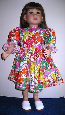 """Colorful Easter Dress & Purse in Bright Flowered Print For My Twinn 23"""" Dolls"""
