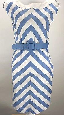 Spense Sleeveless Zip Shoulder Belted Sheath Dress Sz 10 Blue & White Striped
