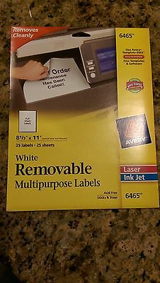 AVERY 6465 - WHITE REMOVABLE MULTIPURPOSE LABELS - FULL SHEET LABELS - 25 LABELS