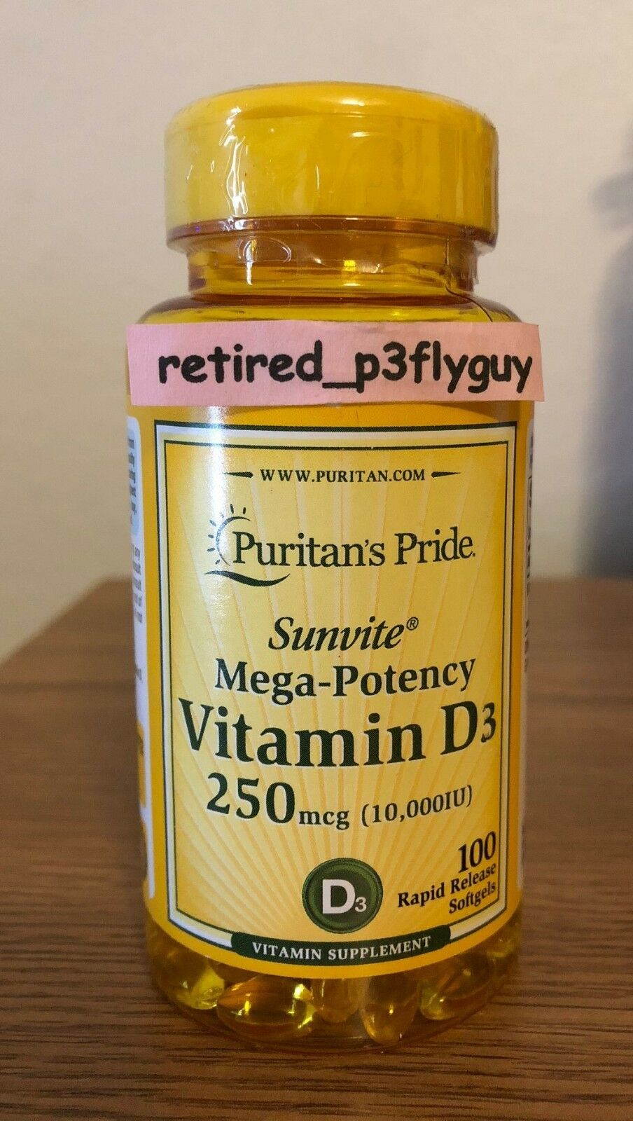 Puritan's Pride Mega Potency Vitamin D3 10,000 IU - 100 Soft