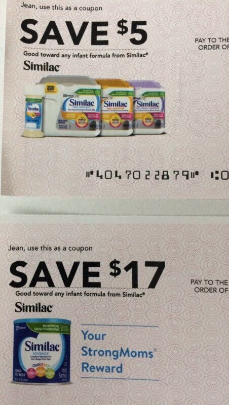Similac Coupons/Checks ~ Total Value $22