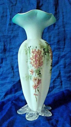 Tall White to Blue Satin Glass Melon Ribbed Vase Enamel Floral Decoration