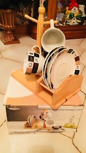 3 piece Cappuccino & Saucer with wooden tree stand