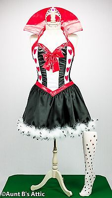 Queen Of Hearts Sexy 3 Pc Blk-Red-Wht Fantasy Costume Dress Crown & Stockings XL](Crown Queen Of Hearts)