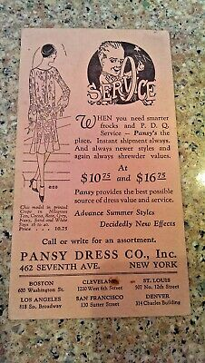Vintage PANSY DRESS CO, INC. advertising card 462 Seventh AVE NEW YORK