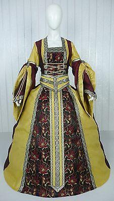 MEDIEVAL RENAISSANCE TUDOR WEDDING HANDFASTING LARP GOWN DRESS COSTUME (22E)