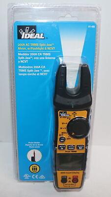 Ideal 61-405 200-amp Trms Split Jaw Clamp Meter Wflashlight Ncvt