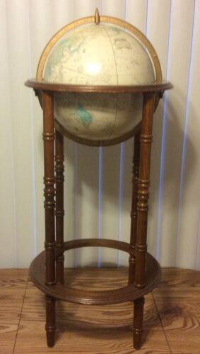"VTG Cram 12"" Imperial World Globe Powell Wood Floor Stand 36"" Mid Century"