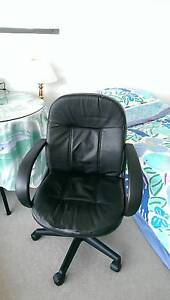 Natural Leather Office Computer Chair Black Chatswood Willoughby Area Preview