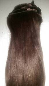 """HAIR EXTENSIONS REAL HAIR REMY CLIP-IN 16"""" FULL HEAD DARK BRWN Moonee Ponds Moonee Valley Preview"""