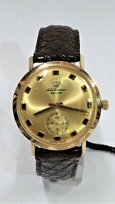 14kt Yellow Gold Mens Watch - Vintage Jules Jurgensen 14KT Yellow Gold Mens Chronograph Leather Band Watch 34m
