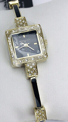 Womans Anne Klein Wrist Watch Silver Black Pave Crystal Bracelet New Battery