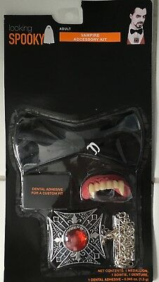 Adult Vampire Teeth (Vampire Instant Kit Halloween Costume Adult Teeth Fangs Tie Medallion)