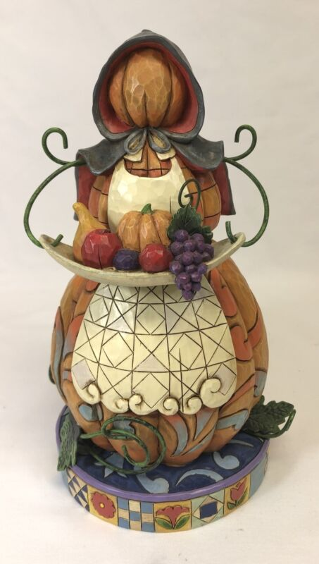 Jim Shore 4010034 Feast on Goodness Stacked Pumpkin Woman Pilgrim 2008