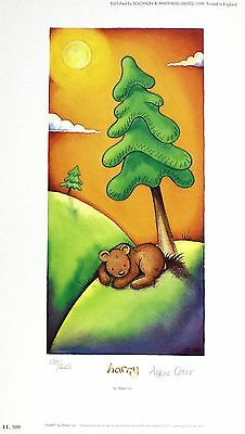 """ABBIE CARR """"Harry"""" brown bear tree SIGNED LIMITED ED! SIZE:34cm x 19cm NEW RARE"""
