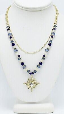New Double Strand - New Double Strand Rhinestone Starburst Pendant Necklace by Neiman Marcus #NM12