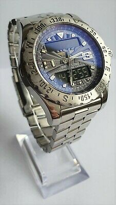 BREITLING AIRWOLF A78363 BLUE DIAL STAINLESS STEEL STRAP GREAT CONDITION BACKLIT