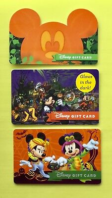 Disney 3 Halloween Gift Cards Pumpkin Glow in Dark Donald Pluto 2017 *No Value* - Disney Halloween Gift Cards