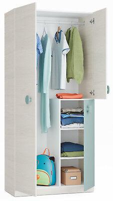 Armario juvenil dormitorio color verde y blanco 3 puertas 90x200x52 cm segunda mano  Alquerías del Niño Perdido