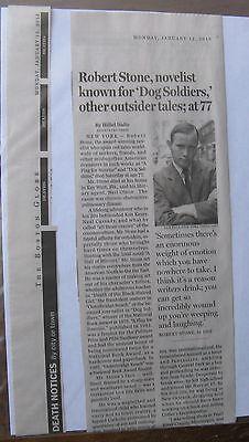 Obituary Boston Globe 1 12 2015 Robert Stone 77 Novelist Known For Dog Soldiers