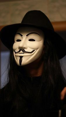 Collestion Guy Fawkes mask with Hat And Wig V for Vendetta mask Anonymous White](V For Vendetta Hat And Wig)