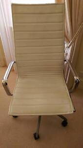 White Leather Office Chair Mosman Mosman Area Preview