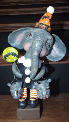 New Folk Art Whimsical Vintage Halloween Elephant Doll w Rhino & Hippo Bucket