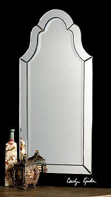 """FRAMELESS ARCHED ARCH BEVELED EDGES HOVAN WALL MIRROR 21""""W X 44""""H"""