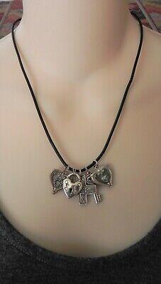 Aldrich Art *Beautiful Sterling Silver Heart & Cross Charm Necklace w/Blue Topaz Blue Topaz Heart Cross