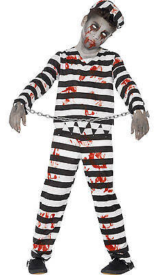 Zombie Monster Convict Prisioner Kids Childs Halloween Fancy Dress Costume 4-14](Prisioner Costumes)