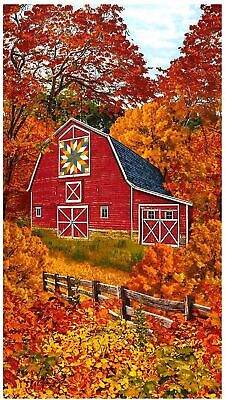 Red Barn in Autumn Panel by Timeless Treasures