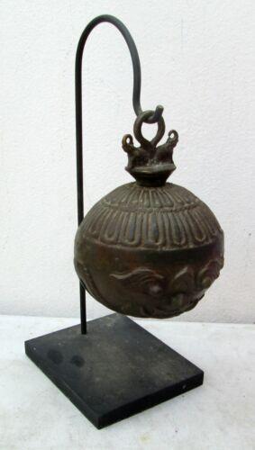 Unusual XL Karen Hill Tribe Bronze Round Elephant Bell & Stand 1.6 kilograms