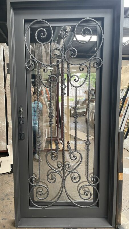 """Wrought Iron single door 36"""" X 81"""" , Modern Wrought Iron Door"""